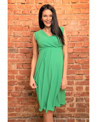 Gorgeous vivid green pleated cocktail dress, with breastfeeding function