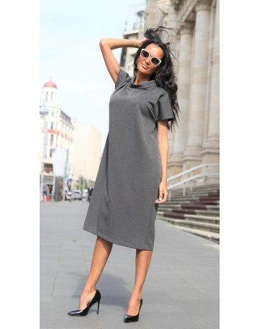 Gray pregnancy dress with spectacular collar