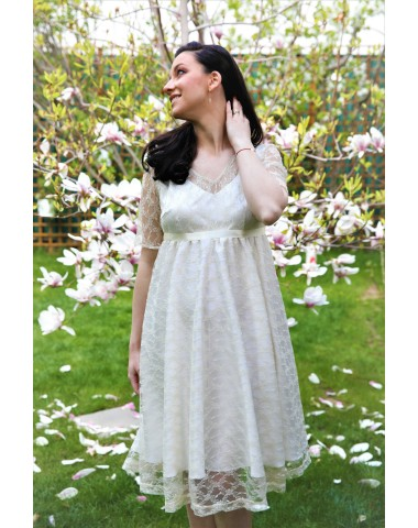 Charming, occasion maternity ivory lace dress