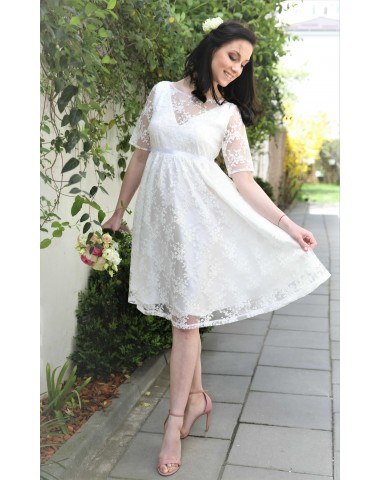 Exquisite, occasion maternity off-white lace dress