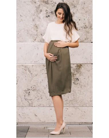 Midi pregnancy dress in two tones of color.