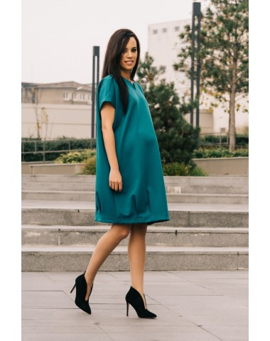 Dark turquoise blue versatile maternity dress