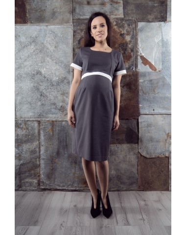 Gray office maternity dress with white details