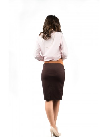 Maternity brown skirt with slit