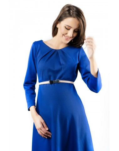 Royal blue midi maternity dress