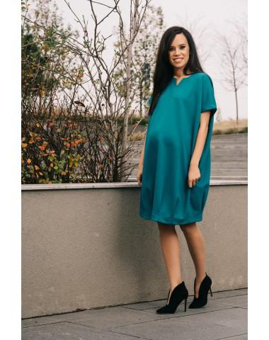 Dark turquoise blue versatile maternity dress