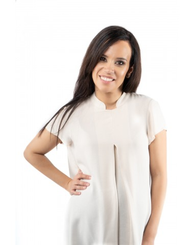 Off white pregnancy blouse with tunic collar