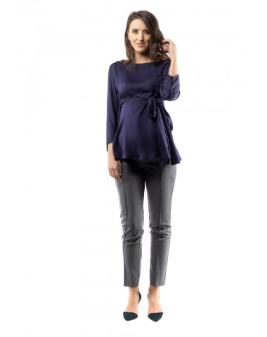 Navy blue maternity blouse with side pleats