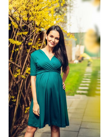 Splendid dark turquoise maternity dress