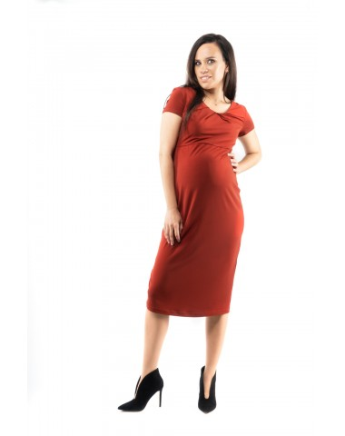 Curve fitting maternity dress with short sleeves