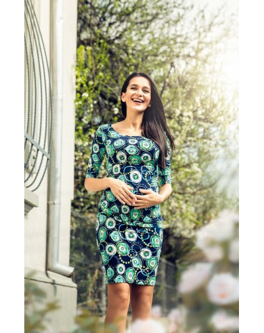 Figure hugging navy blue printed maternity dress